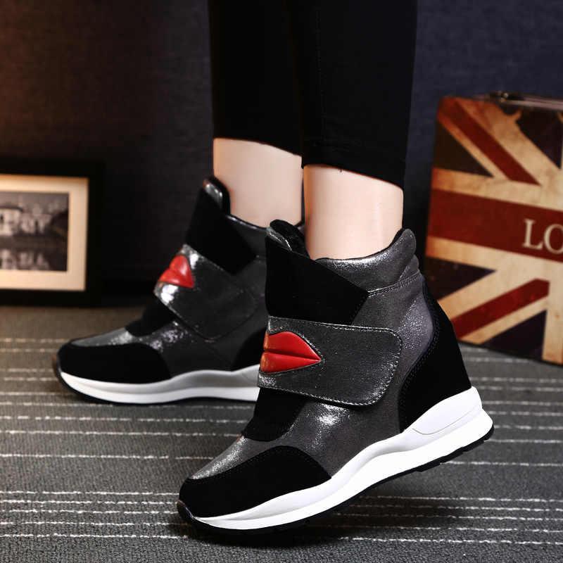 Kama ayakkabı moda Kırmızı dudaklar 2019 asansör ayakkabı kadın tasarım ayakkabı kışlık botlar kadın artış içinde rahat ayakkabılar kadınlar
