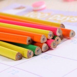Image 4 - 100 sztuk drewniany ołówek cukierki kolor trójkąta ołówki z gumką śliczne dzieci szkoła materiały biurowe do pisania ołówek grafitowy