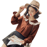 2018 Spring New Japanese Sweet White Basic Shirt Cute Peter Pan Collar Elegant Women Blouse Fashion