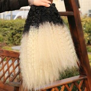 Image 5 - REYNA sapıkça düz saç uzatma 3 adet bir set yüksek sıcaklık sentetik saç demetleri kadınlar için