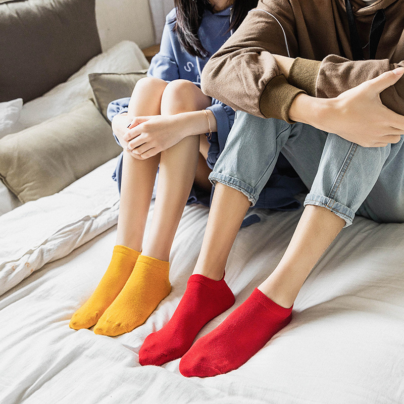 Kawaii Embroidered Expression Women Socks Happy Fashion Ankle Funny Socks Women Cotton Summer 1 Pair Candy Color in Socks from Underwear Sleepwears