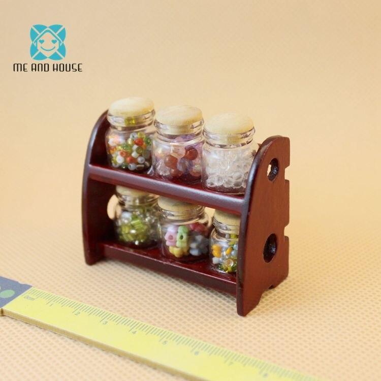 Кукольный домик аксессуары Мини Миниатюрный Кукольный дом spice банку с деревянной конфеты полки