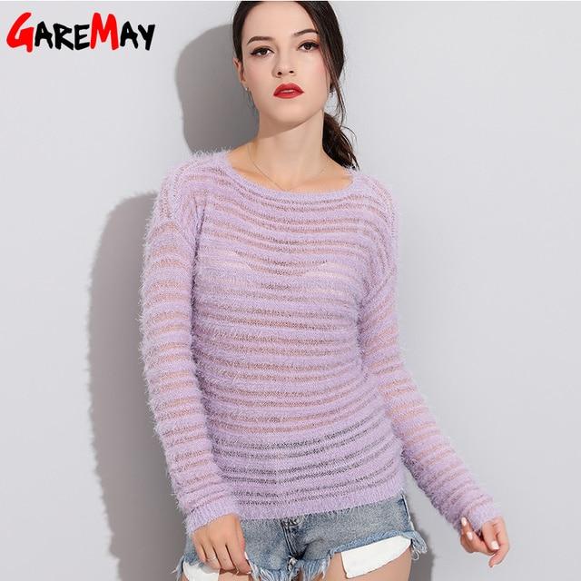 Garemay Mohair Pullover Pullover Frau Gestrickte Pullover Lange Hülse Lose O-ansatz Hedging Weibliche Pullover Pullover Pull Femme