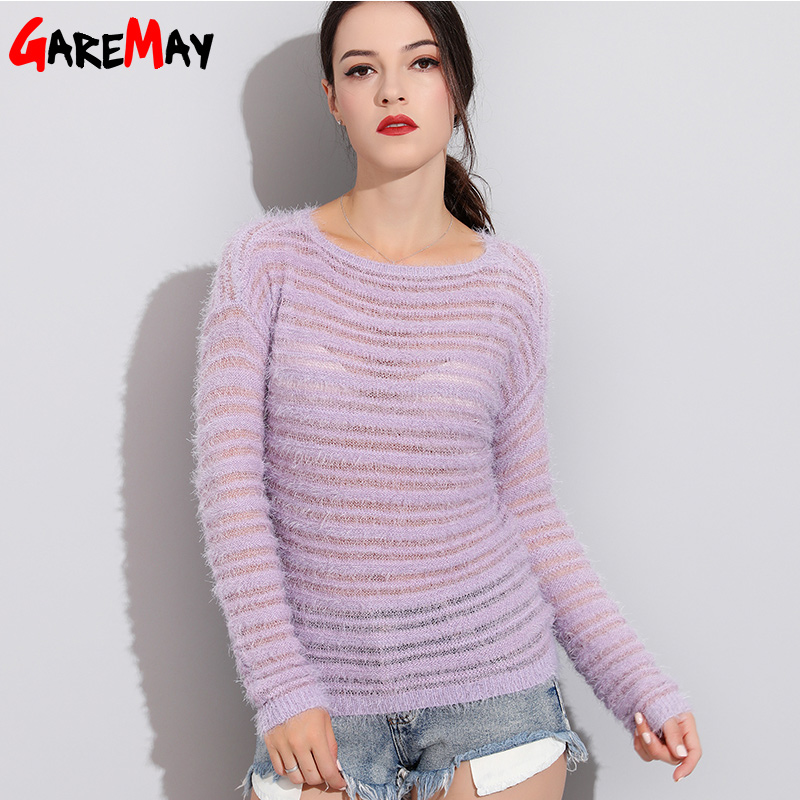 Garemay Mohair Pullover Sweater mujer hecho punto suéteres de manga larga suéteres o-cuello Hedging suéter femenino Pull Femme
