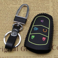 BBQ@FUKA Car-styling Smart Remote Key Case 5 Bottons Leather Cover Keyfob Holder For Cadillac CT6 XT5 ATS Car keychain key ring