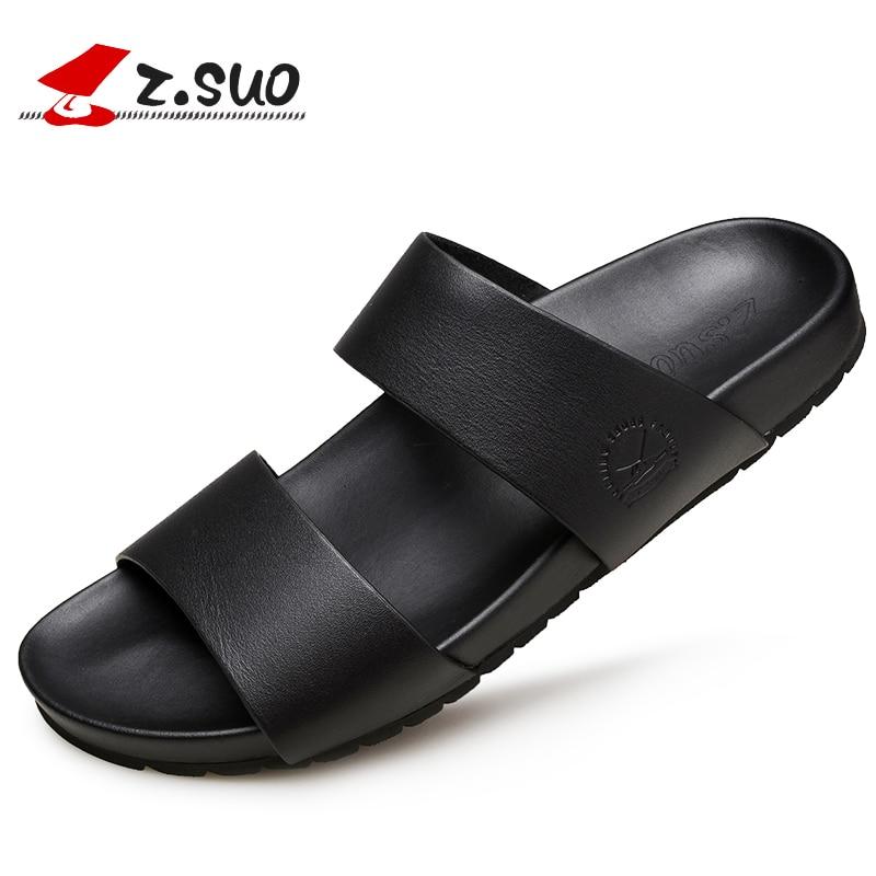 Z Suo New Summer Men Slipper Leisure Beach Slippers Rubber Soles Waterproof Non slip Sandals Male