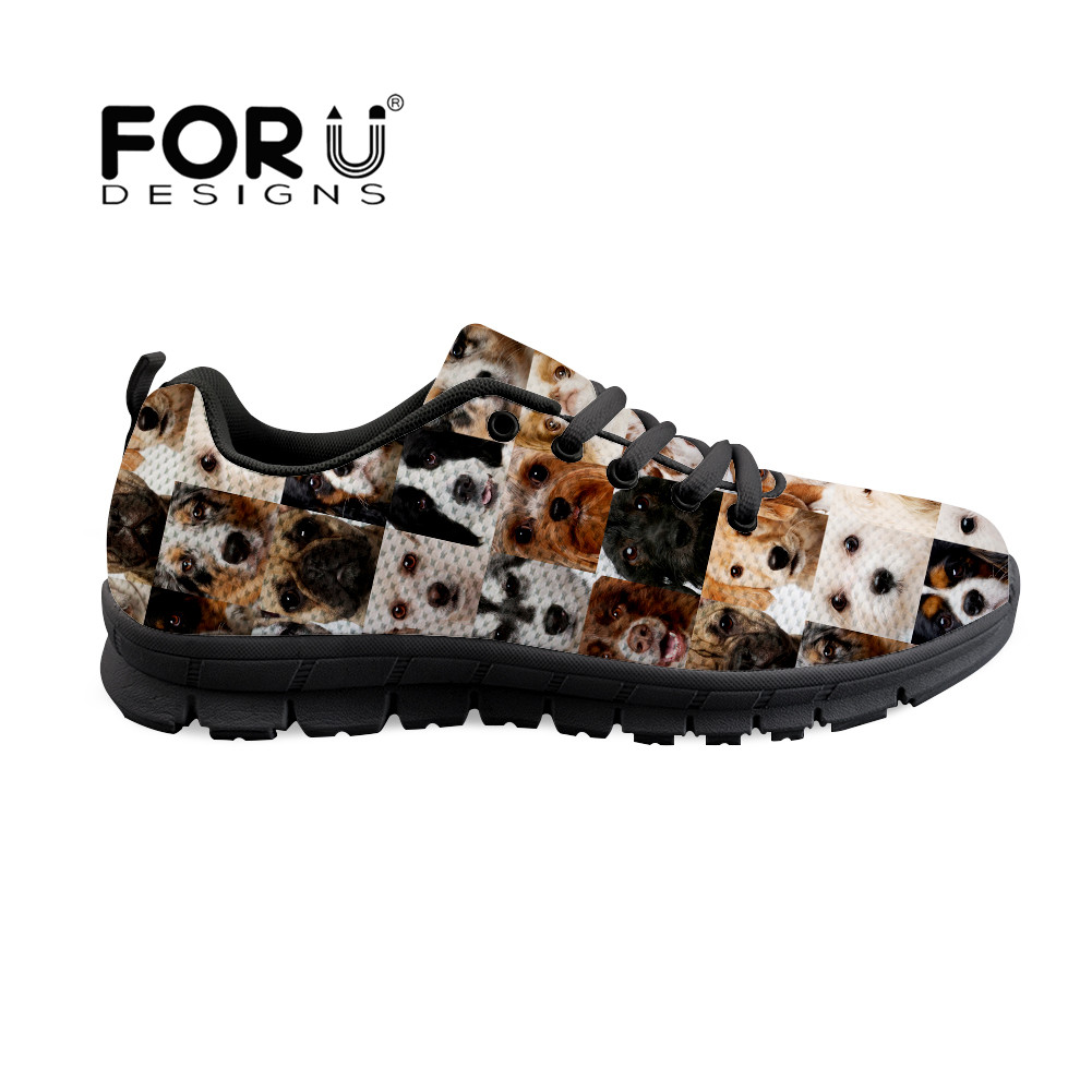 FORUDESIGNS Animal Dog Cat Print 2018 Spring and summer Designer Sneakers Women Shoes Lace up Casual Air Mesh Female Shoes Woman dog print mesh panel tee