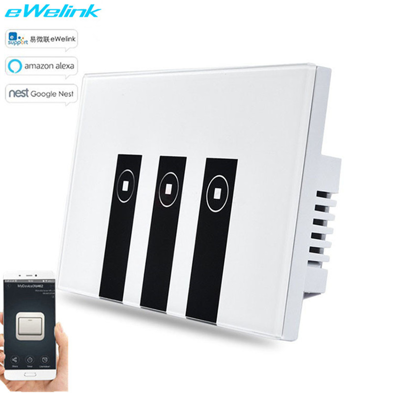 US Standard eWelink APP Remote control Light Switch,1/2/3Gang Wifi Control Touch Switch Tempered glass panel via Android and IOS ewelink us type 2 gang wall light smart switch touch control panel wifi remote control via smart phone work with alexa ewelink