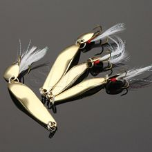 SLHEE 2017 New 5/7/10/13g  Gold Silver Metal Sequins Fishing Lure Spoon With Feather Treble Hook Fishing Tackle Free Shipping