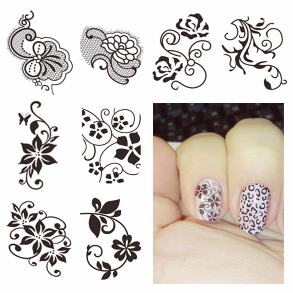 LCJ Watermark Nail Stickers Black Lace Flower Nail Art Water Transfer Sticker Decals Manicure Wraps Decor t new nail art flower stickers decals water transfer wraps decorations manicure care tools