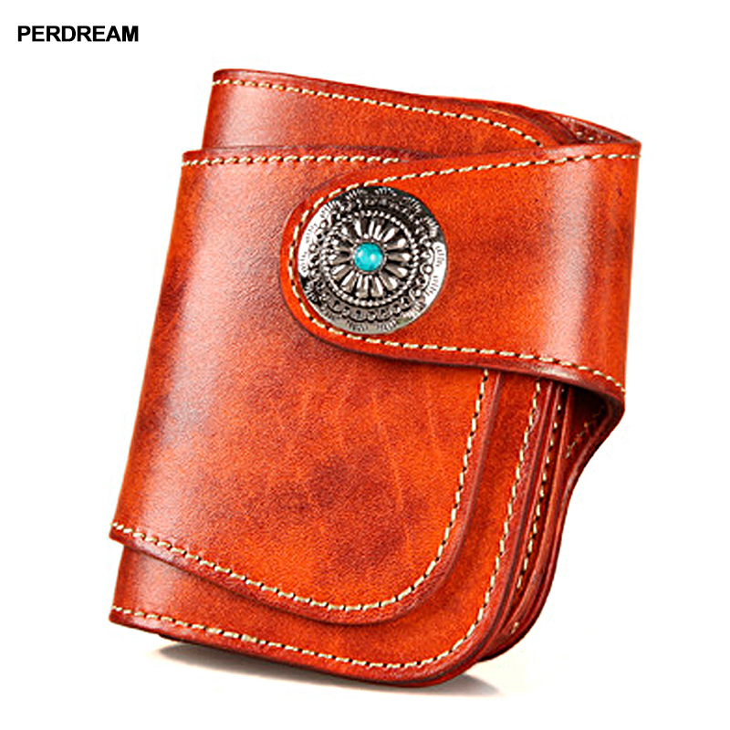 2018 new retro handmade leather purse male short vegetable tanned leather Japanese style turquoise money Buamei khaki-in Wallets from Luggage & Bags    1
