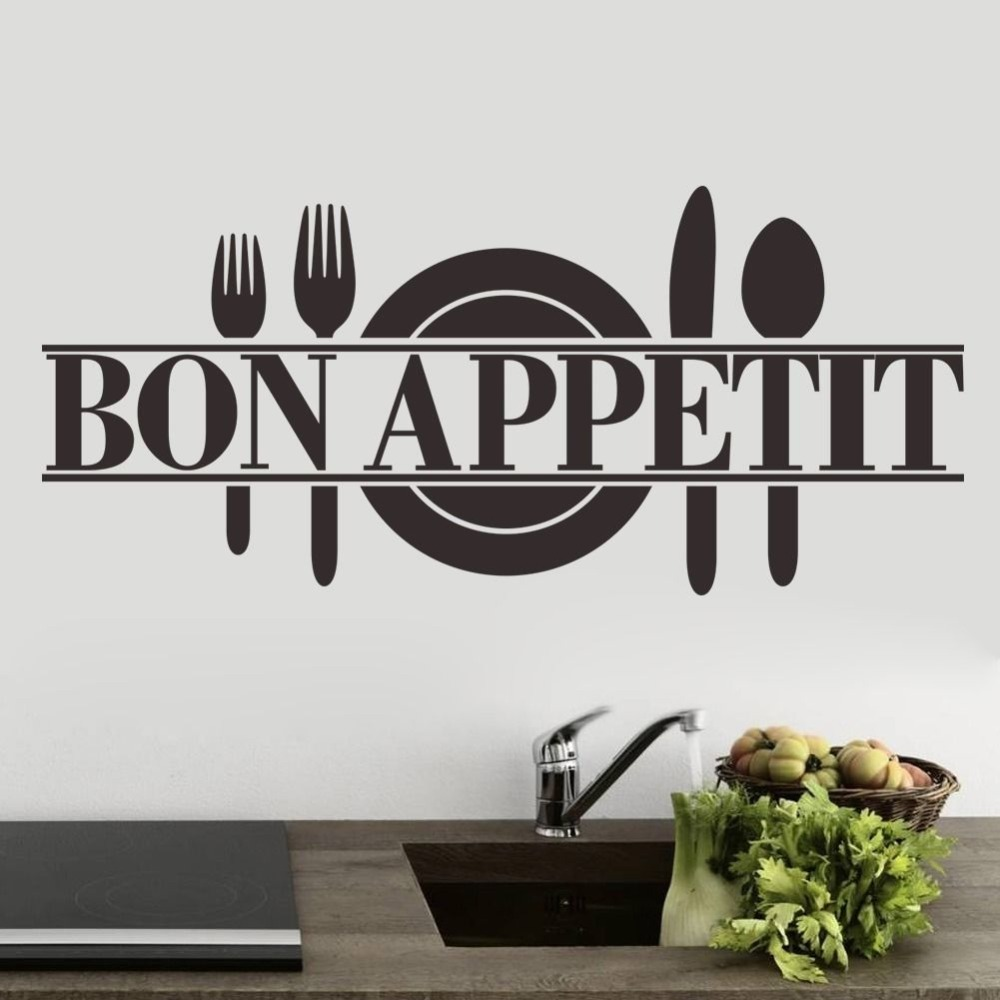 Free Shipping Quotes Sayings BON APPETIT Kicthen Wall Sticker Home Art Decor Decals Fashion Wall Murals ES-100