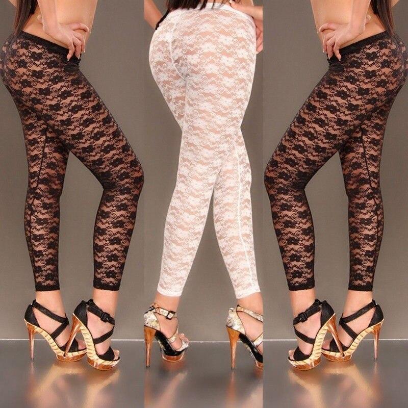 Hirigin Women Sexy Floral Print Stylish Skinny Lace Hollow Leggings See Through Pants Black White