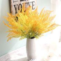 Yapay Fern ağacı, Masa Centerpieces düzenleme, gerçek dokunmatik bitki ve vazo seti, yuvarlak kristal boncuk ile