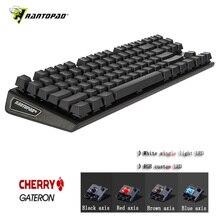 Rantopad MXX Cherry/GATERON Механическая игровая клавиатура 87-Key Deluxe Edition 4 Axis aluminum Cover белый одноцветный RGB светодиодный