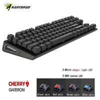 Rantopad MXX Cherry/GATERON clavier de jeu mécanique 87 touches édition de luxe 4 axes couverture en aluminium blanc couleur unique rvb LED
