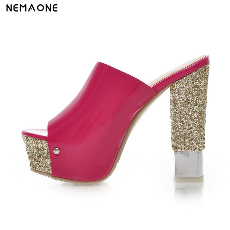 NEMAONE 2017 New sexy high heels sandals women shiny glitter women slippers peep toe party shoes woman women sandals shiny leather peep toe