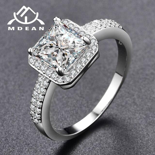 MDEAN White Gold Color Rings for Women Engagement Wedding Cleaar AAA Zircon Jewelry Bague Bijoux Size 6 7 8 9 H572