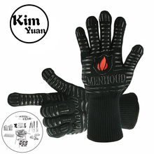 KIM YUAN BBQ Grill Cooking Gloves Oven Mitts for Extra Forearm Protection for Fireplace, Baking, Potholder and Oven gray color bbq gloves with no slip silicone grips oven mitts fireplace gloves baking cooking factory direct supply