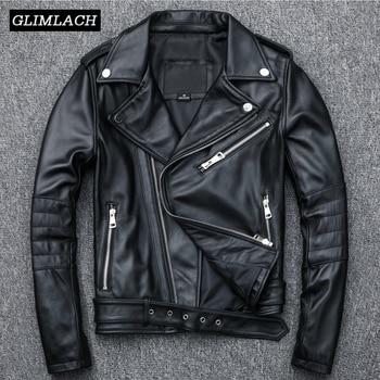 tienda de liquidación 86699 4705a Chaqueta de cuero genuino de lujo abrigos para mujer motociclista de piel  de oveja chaquetas negras de cuero Real con cremallera para damas ropa de  ...
