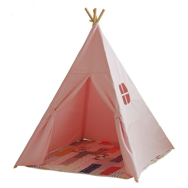 buy lovely cartoon teepee kid play tent cotton canvas kids teepee white. Black Bedroom Furniture Sets. Home Design Ideas