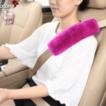 OGLAND Genuine Merino Sheepskin Car Seat Safety Belt Pad Cover For Car Accessories Neck Shoulder Strap Cushion Pillow Automobile