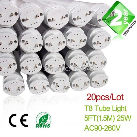 20pcs/Lot 5ft 25W T8 LED Fluorescent Tube 2 Year Warranty SMD2835 Epistar 20pcs lot 20w 96led t5 u shaped led tube light 2g11 epistar smd2835 28lm led high brightness tube lamp ac85 265v 2g11 tube