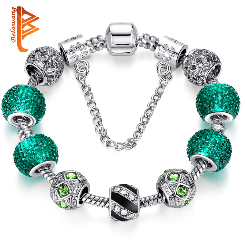 Newest Elegant Silver DIY Charm bracelet for Women Chain Green Beads Fashion Jewelry Fit Original Bracelets Best Gfit PS3124