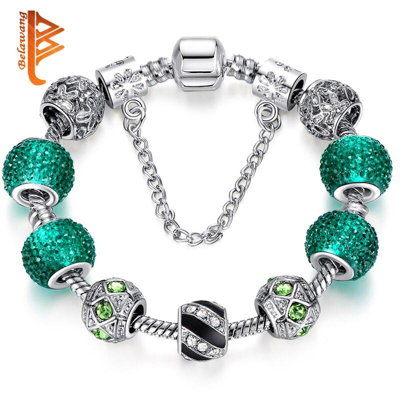 Newest Elegant Silver DIY Charm bracelet for Women Chain Green Beads Fashion Jewelry Fit Original Bracelets Best Gfit PS3124