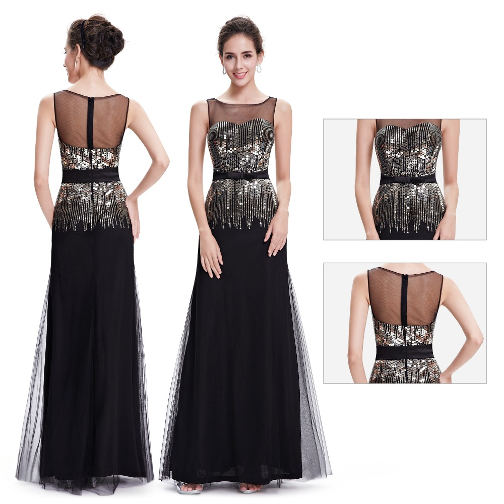 Ever Pretty   Evening     Dresses   HE08602BK Elegant Black Sleeveless Long Round Neck   Evening   Formal   Dresses