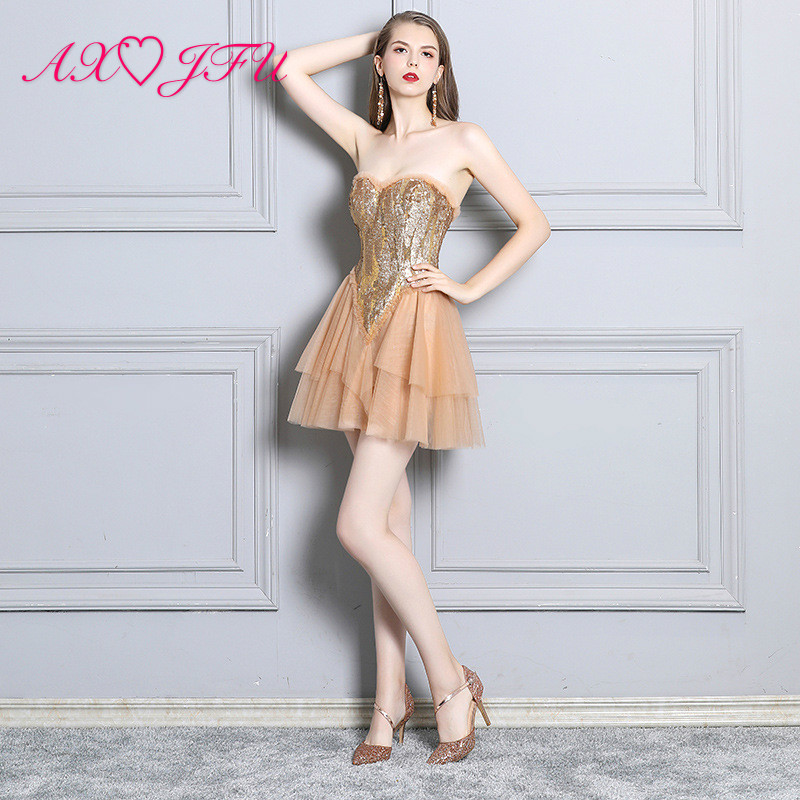 AXJFU strapless sleeveless sparkly lace short Banquet   Dresses   Fashionable Sexy Breast-wiping Back-exposed Host   Evening     Dresses