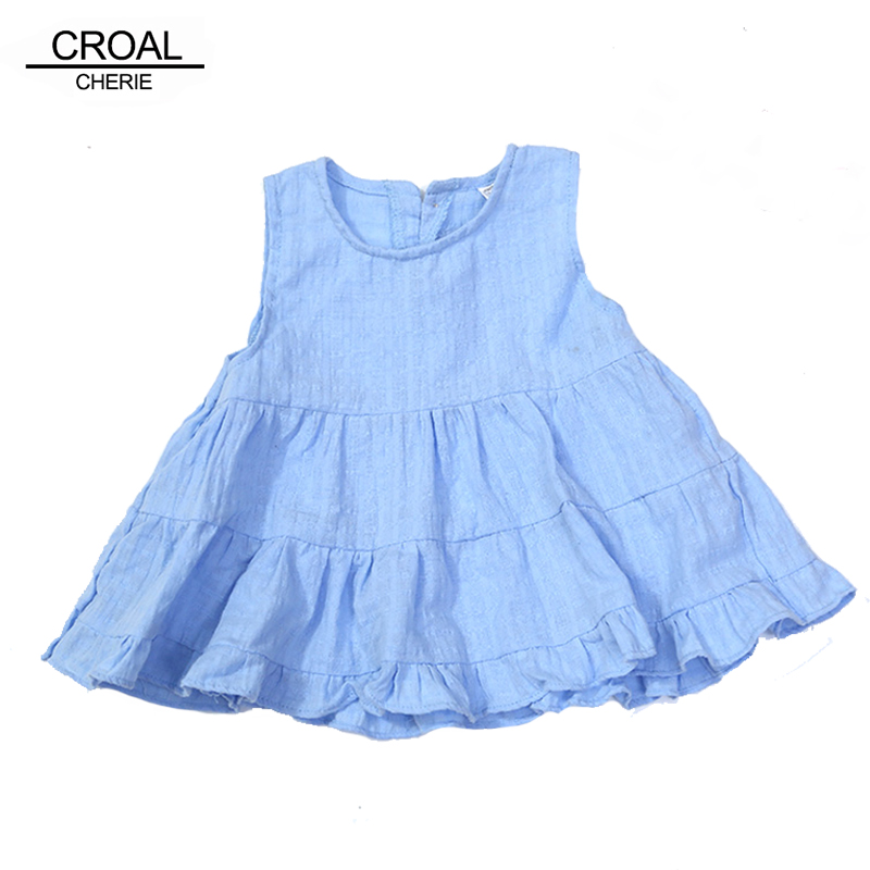 CROAL CHERIE 70-120cm Ruffles Baby Girls Dresses For Party And Wedding White Blue Pink Summer 2017 Children Clothes Kids Girls