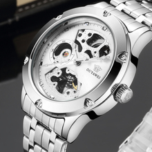 Full Steel Watch Self Wind Men Watch with Skeleton Dial OUYAWEI  White Automatic Men Wristwatch Business Casual Mechanical Watch цена