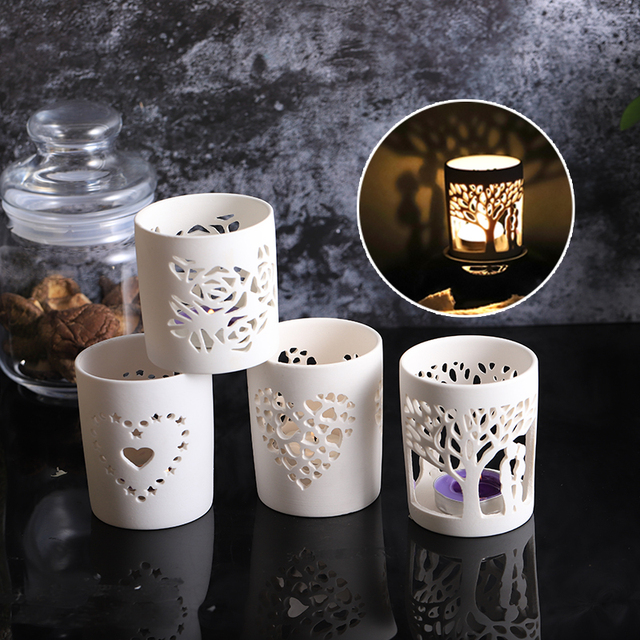 Matte White Pottery Votive Tealight Ceramic Candle Holder Porcelain Jar Holiday Decor Propose Marriage Valentine S