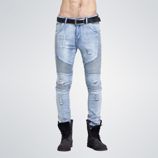 2017 hip-hop Men Jeans masculina Casual Denim distressed Men's Slim Jeans pants Brand Biker jeans skinny rock ripped jeans homme 1