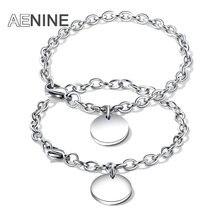 a83abdb07df9 AENINE clásico titanio acero etiqueta redonda amantes pulseras plata  joyería Color grabado DIY letras Charms pulsera OGS927