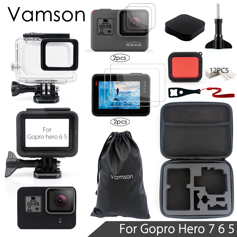 Vamson for Gopro Hero 7 6 5 Accessories Set Sreen Portector /Lens protector Waterproof Housing case for Go pro hero 6 5 VS05C jinserta black plastic lens cap cover for gopro hero 6 black edition camera go pro 6 5 accessories protector case