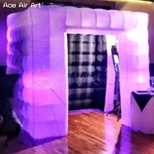 Черный интерьер 2,4 м светодиодные лампочки куб надувной фото киоск, 1/2 двери селфи фото резервного копирования поставляются с воздуходувкой...