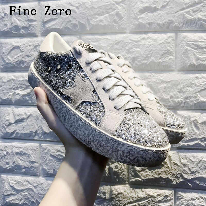 Women Autumn Spring Leopard Print Loafers 2018 Gold Sequins Star Flat Shoes  Leather Moccasins Female Glitter e49f1f868fb8