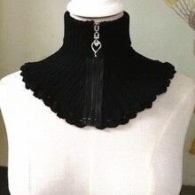 Осенне-зимний женский шерстяной клетчатый шарф, воротник на молнии, высокий вязаный шерстяной воротник, Хлопковый вязаный шарф, теплый галстук черного цвета