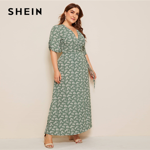 SHEIN Plus Size Ditsy Floral Knot Side Wrap Maxi Dress Women Summer Autumn Half Sleeve V Neck Fit and Flare Boho Empire Dresses 3