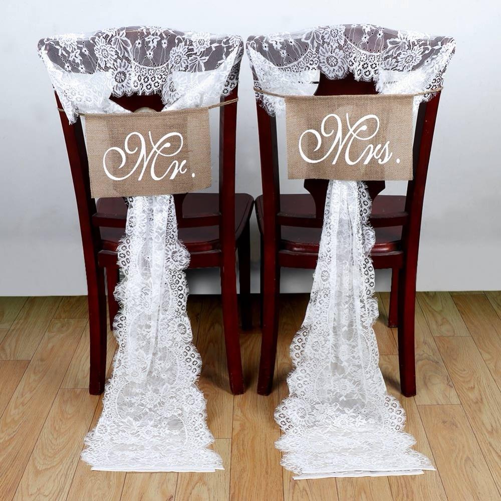 OurWarm 35*300cm White Lace Wedding Chair Sashes Bow Wedding Chair Decoration Banquet Venue Decoration Romantic Wedding
