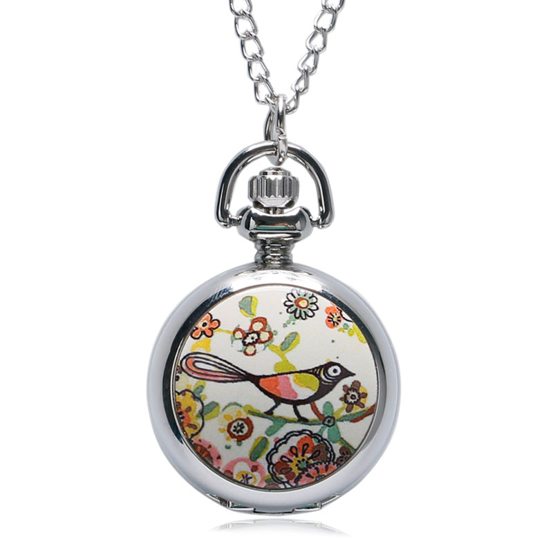 New Graffiti Brid Flower Design Quartz Pocket Watch For Men Women With Silver Color Necklace Chain Clock Accessory