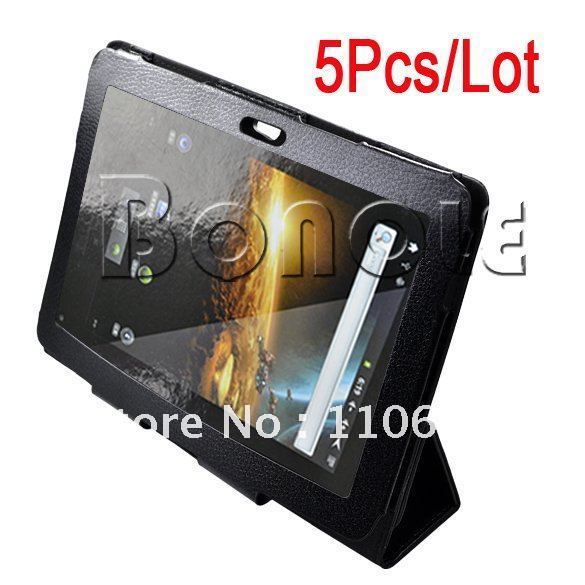 Holiday Sale! Wholesale 5Pcs/Lot  Black Leather Case Cover Protector For Samsung Galaxy Tab P7510/P7500 Tablet