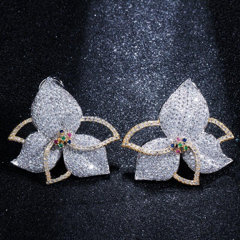 Лепесток личности Белый AAA Циркон 925 пробы серебра серьги стержня для Для женщин M02-E0227
