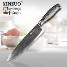 XINZUO 8″ inch chef knife 73 layers Japan Damascus steel kitchen knife Color wood handle high quality sharp knife free shipping