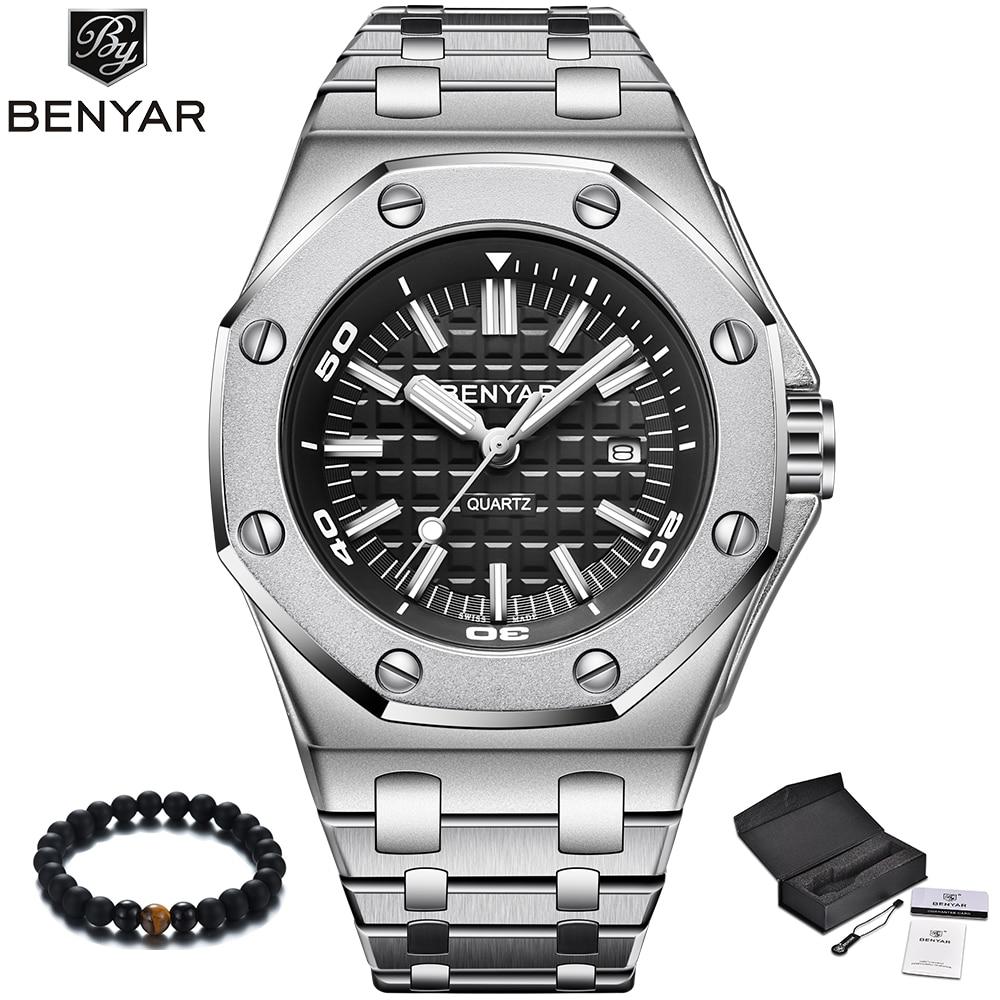 BENYAR Luxury Brand Quartz Watch Men 2019 New Style Silver Stainless Steel Band Military Watch Causal Fashion Wristwatch Mens