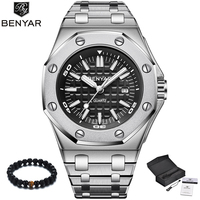 BENYAR Luxury Brand Quartz Watch Men 2019 New Style Silver Stainless Steel Band Military Watch Causal Fashion Wristwatch Mens