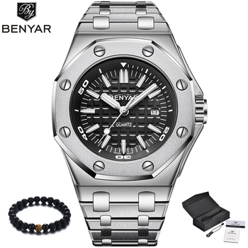 8c9098e362c1 BENYAR de marca de lujo reloj de cuarzo de los hombres nuevo estilo 2019 de  plata de acero inoxidable banda de reloj militar Causal de moda reloj de  pulsera ...