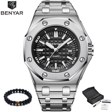 BENYAR Luxury Brand Quartz Watch Men 2019 New Style Silver S